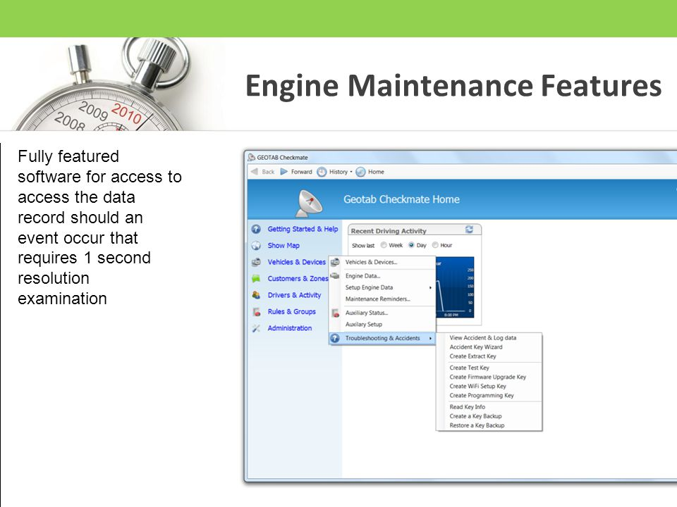 Engine Maintenance Features Fully featured software for access to access the data record should an event occur that requires 1 second resolution exami