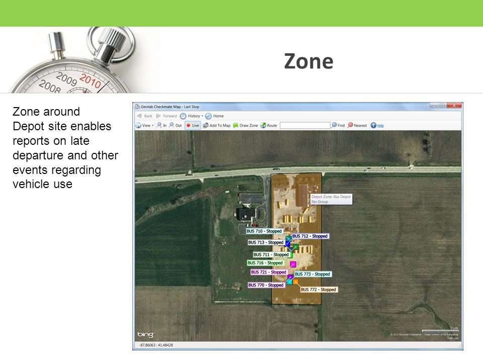 Zone Zone around Depot site enables reports on late departure and other events regarding vehicle use
