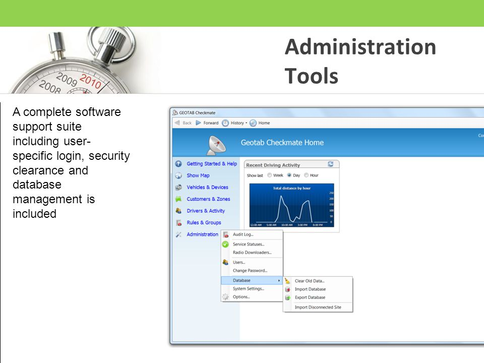 Administration Tools A complete software support suite including user- specific login, security clearance and database management is included