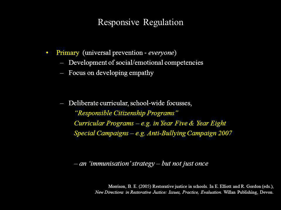 Primary (universal prevention - everyone) –Development of social/emotional competencies –Focus on developing empathy –Deliberate curricular, school-wide focusses, Responsible Citizenship Programs Curricular Programs – e.g.