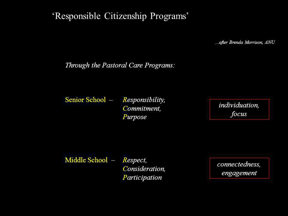 Through the Pastoral Care Programs: Senior School – Responsibility, Commitment, Purpose Middle School – Respect, Consideration, Participation 'Respons