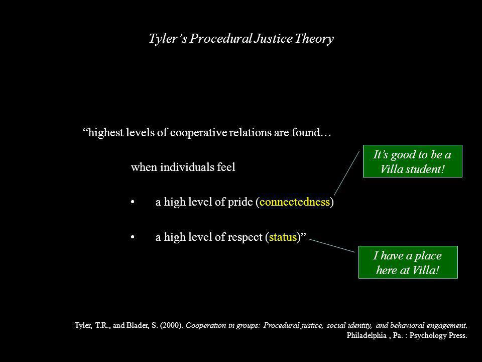 highest levels of cooperative relations are found… when individuals feel a high level of pride (connectedness) a high level of respect (status) Tyler, T.R., and Blader, S.