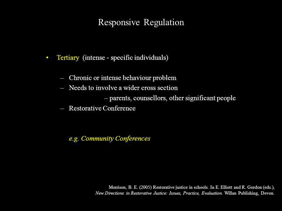 Tertiary (intense - specific individuals) –Chronic or intense behaviour problem –Needs to involve a wider cross section – parents, counsellors, other significant people –Restorative Conference e.g.