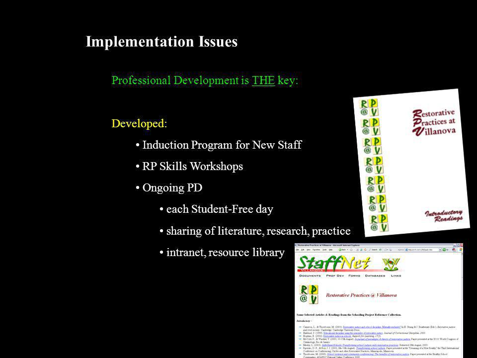 Implementation Issues Professional Development is THE key: Developed: Induction Program for New Staff RP Skills Workshops Ongoing PD each Student-Free