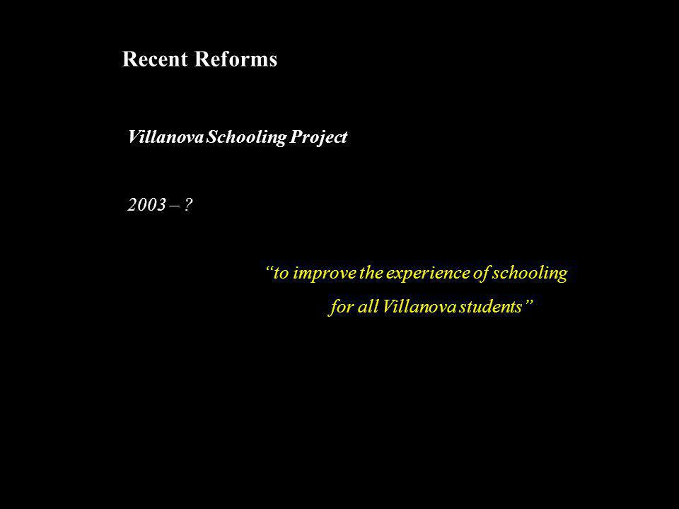 """Recent Reforms Villanova Schooling Project 2003 – ? """"to improve the experience of schooling for all Villanova students"""""""