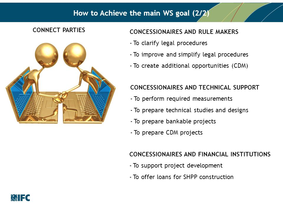 How to Achieve the main WS goal (2/2) CONNECT PARTIES CONCESSIONAIRES AND RULE MAKERS -To clarify legal procedures -To improve and simplify legal procedures -To create additional opportunities (CDM) CONCESSIONAIRES AND TECHNICAL SUPPORT -To perform required measurements -To prepare technical studies and designs -To prepare bankable projects -To prepare CDM projects CONCESSIONAIRES AND FINANCIAL INSTITUTIONS -To support project development -To offer loans for SHPP construction
