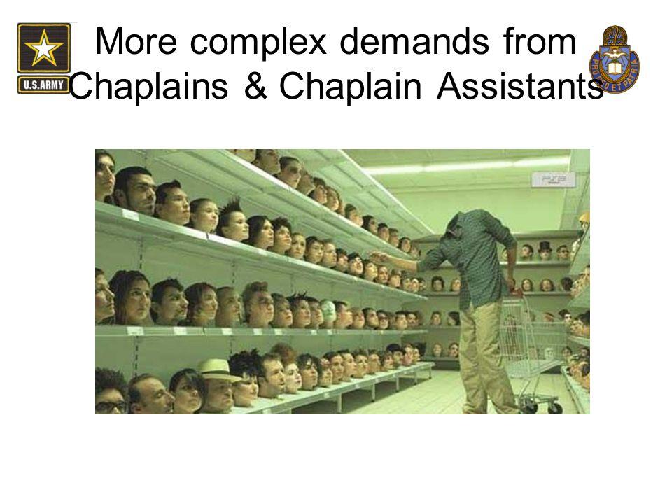 More complex demands from Chaplains & Chaplain Assistants