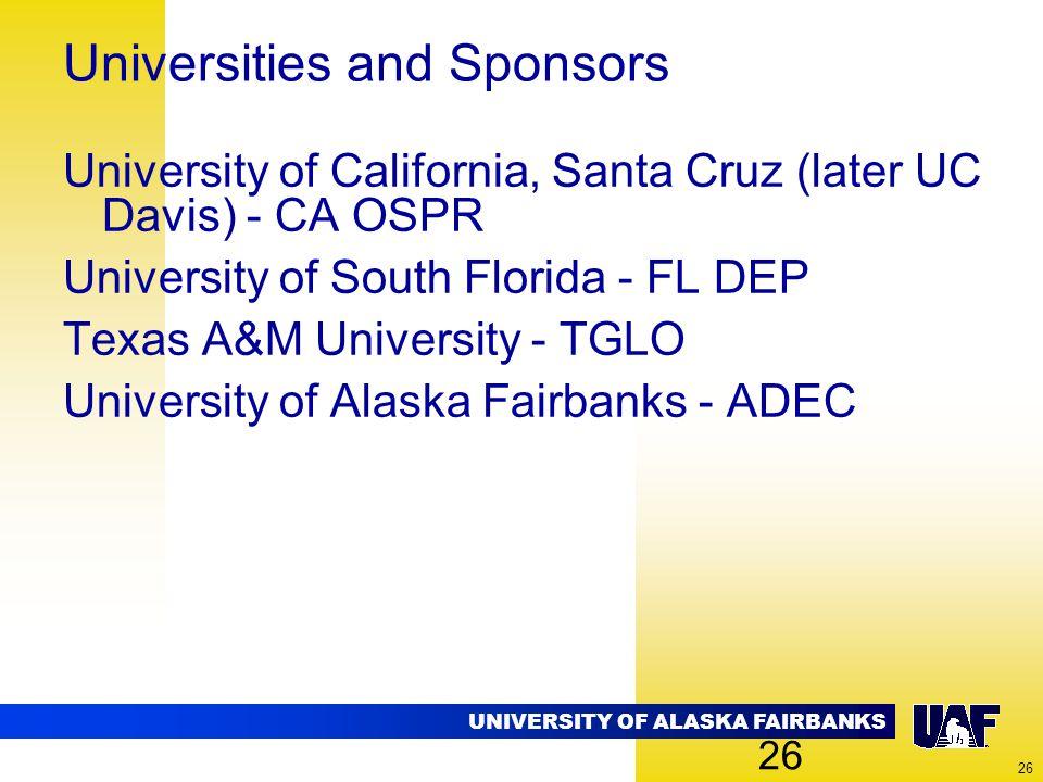 UNIVERSITY OF ALASKA FAIRBANKS 26 Universities and Sponsors University of California, Santa Cruz (later UC Davis) - CA OSPR University of South Florid