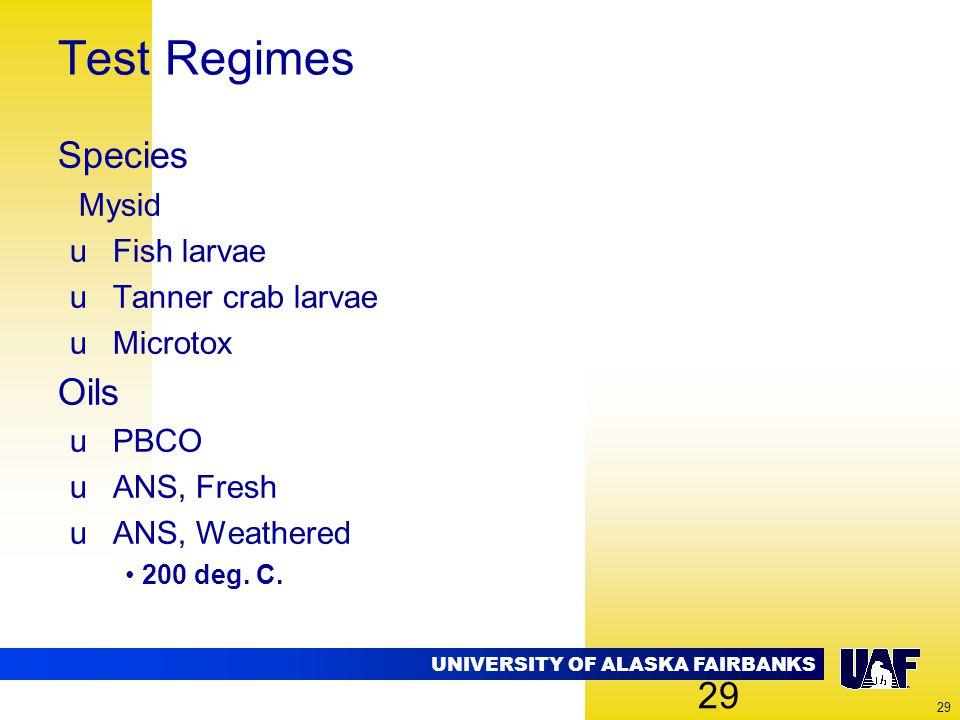 UNIVERSITY OF ALASKA FAIRBANKS 29 Test Regimes Species Mysid uFish larvae uTanner crab larvae uMicrotox Oils uPBCO uANS, Fresh uANS, Weathered 200 deg