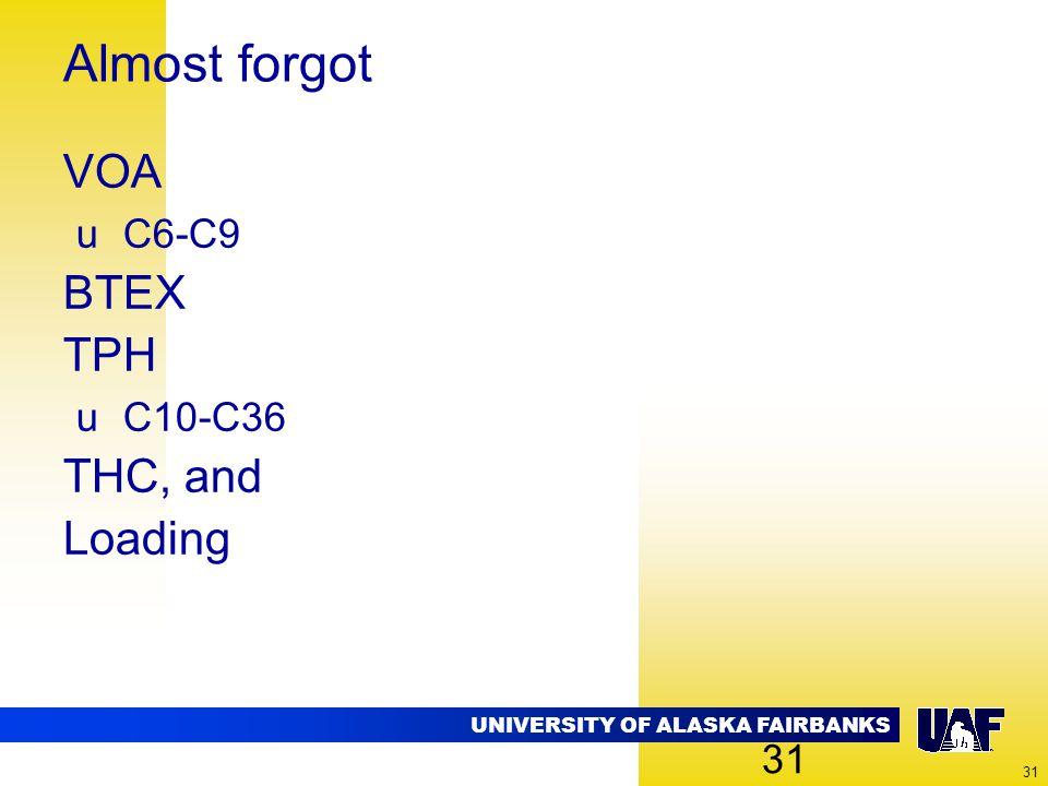 UNIVERSITY OF ALASKA FAIRBANKS 31 Almost forgot VOA uC6-C9 BTEX TPH uC10-C36 THC, and Loading 31