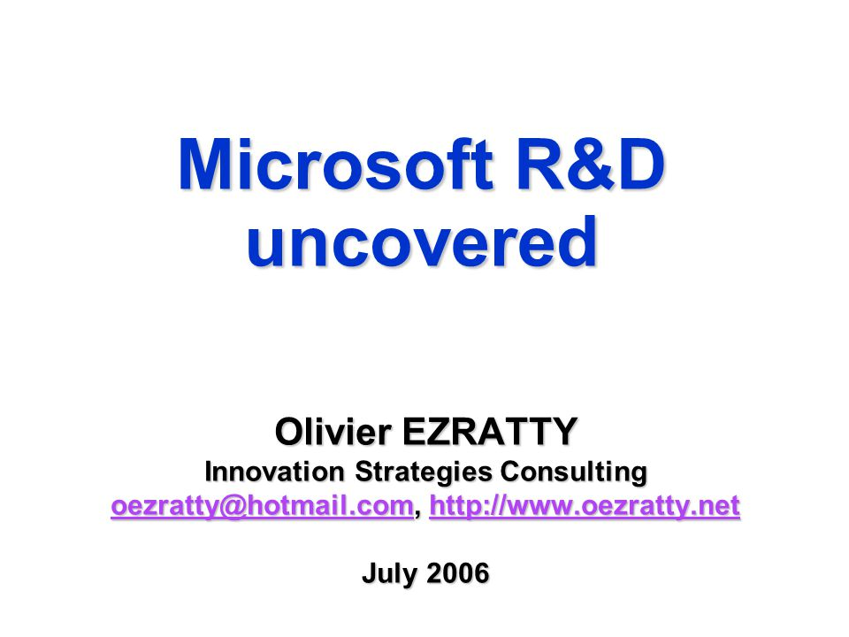 Agenda  Microsoft's business overview  Microsoft R&D processes  Microsoft innovation challenges