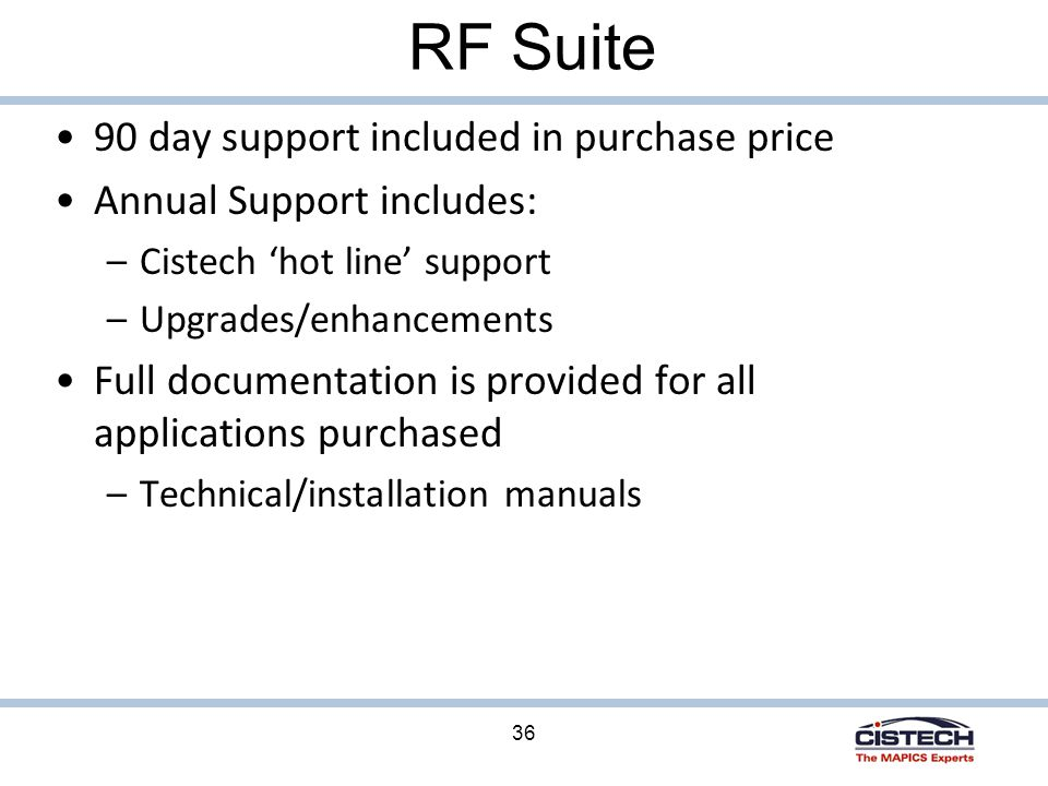 36 RF Suite 90 day support included in purchase price Annual Support includes: –Cistech 'hot line' support –Upgrades/enhancements Full documentation is provided for all applications purchased –Technical/installation manuals