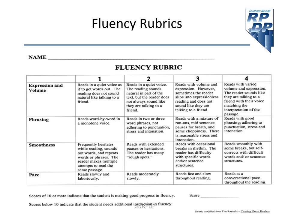SNRPDP Fluency Rubrics