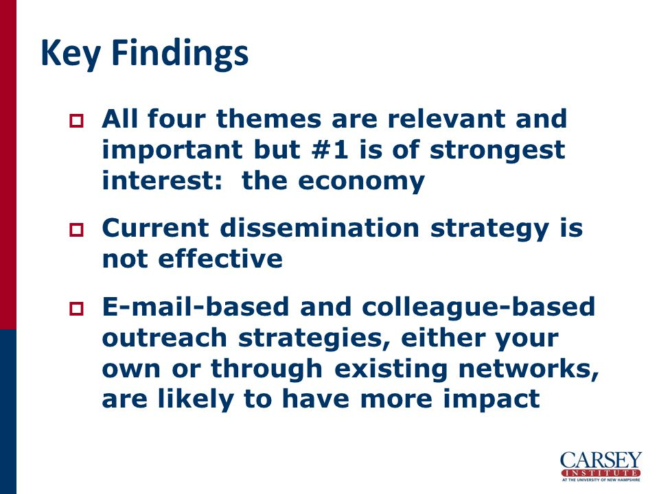 Key Findings  All four themes are relevant and important but #1 is of strongest interest: the economy  Current dissemination strategy is not effective  E-mail-based and colleague-based outreach strategies, either your own or through existing networks, are likely to have more impact
