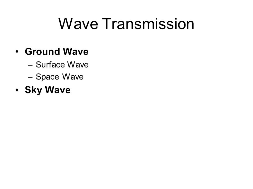 Wave Transmission Ground Wave –Surface Wave –Space Wave Sky Wave