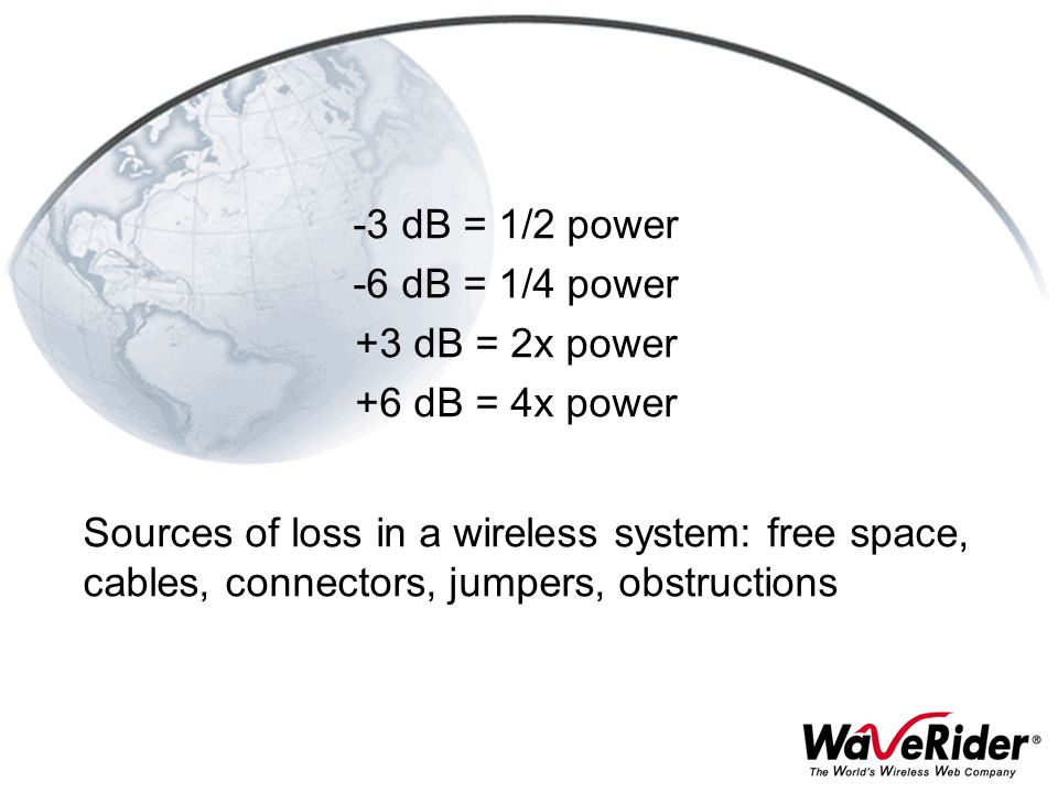 -3 dB = 1/2 power -6 dB = 1/4 power +3 dB = 2x power +6 dB = 4x power Sources of loss in a wireless system: free space, cables, connectors, jumpers, o