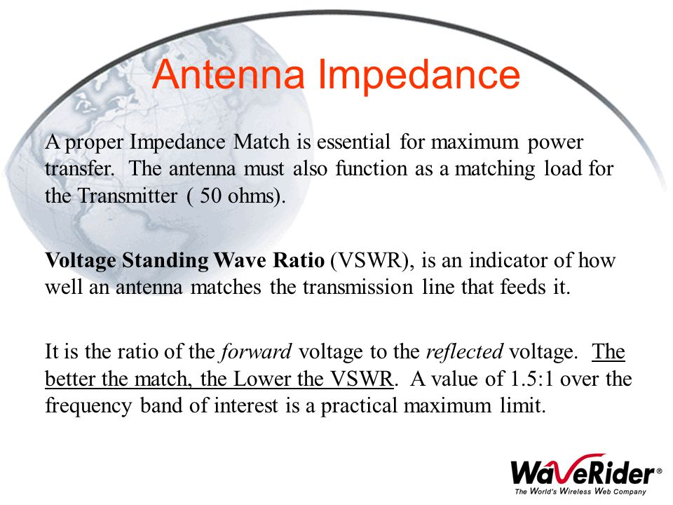 Antenna Impedance A proper Impedance Match is essential for maximum power transfer. The antenna must also function as a matching load for the Transmit