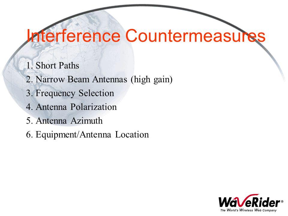 Interference Countermeasures 1. Short Paths 2. Narrow Beam Antennas (high gain) 3. Frequency Selection 4. Antenna Polarization 5. Antenna Azimuth 6. E