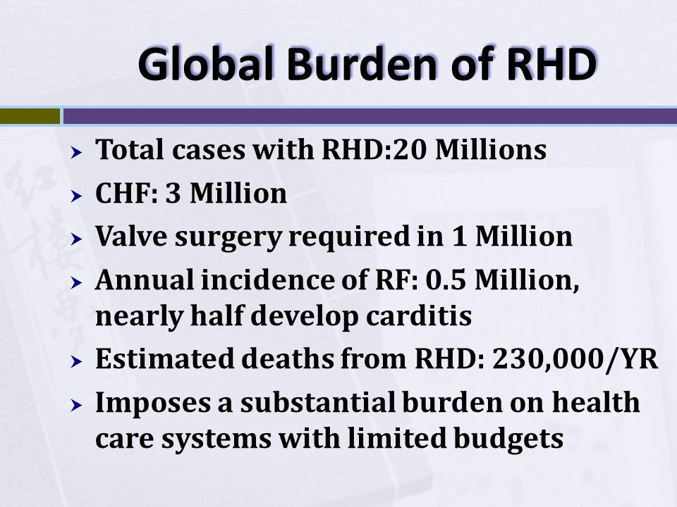 Global Burden of RHD  Total cases with RHD:20 Millions  CHF: 3 Million  Valve surgery required in 1 Million  Annual incidence of RF: 0.5 Million,