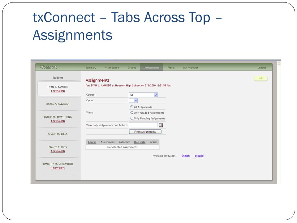 txConnect – Tabs Across Top – Assignments