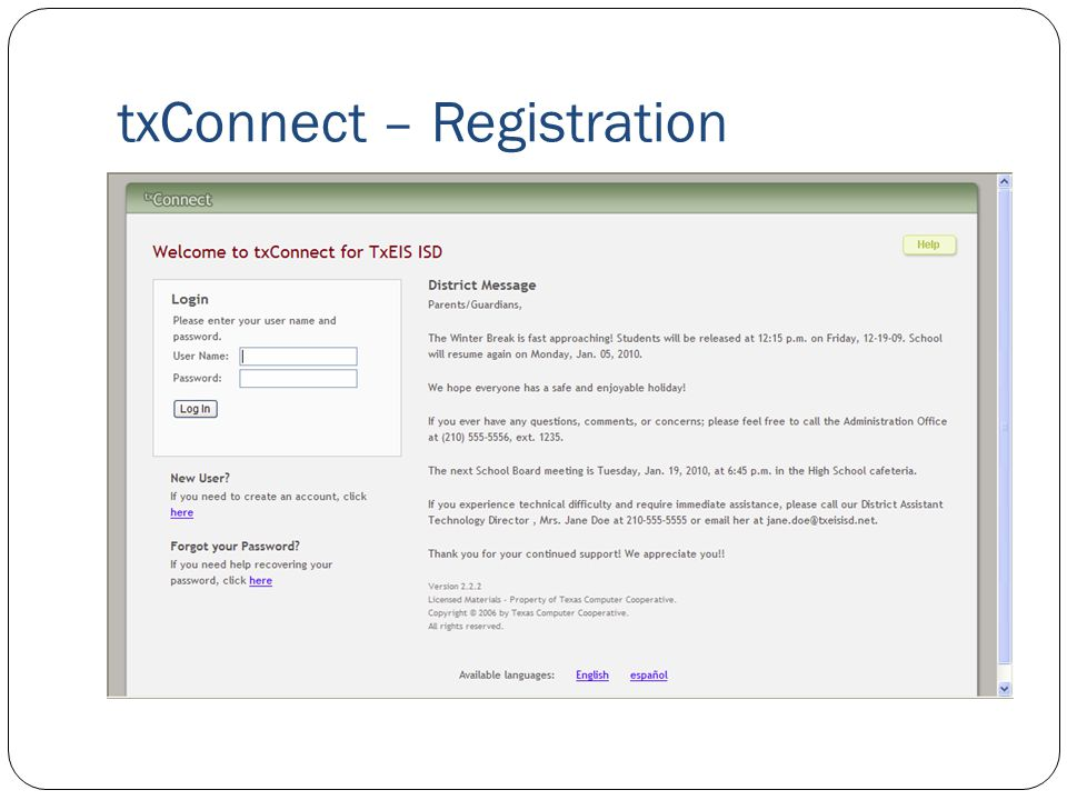 txConnect – Registration