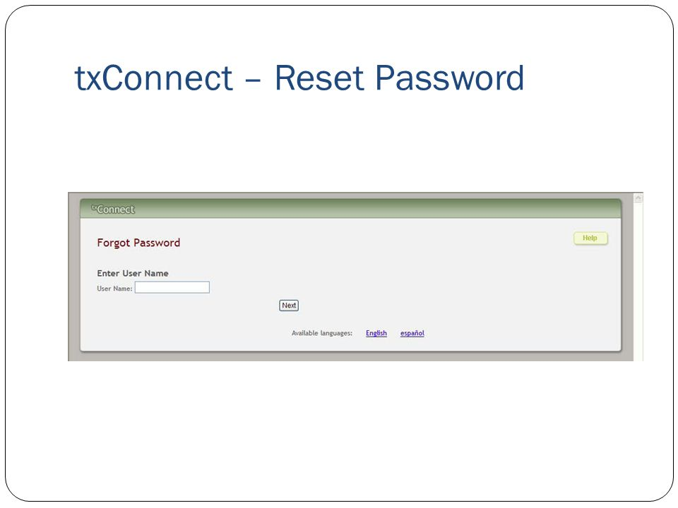 txConnect – Reset Password