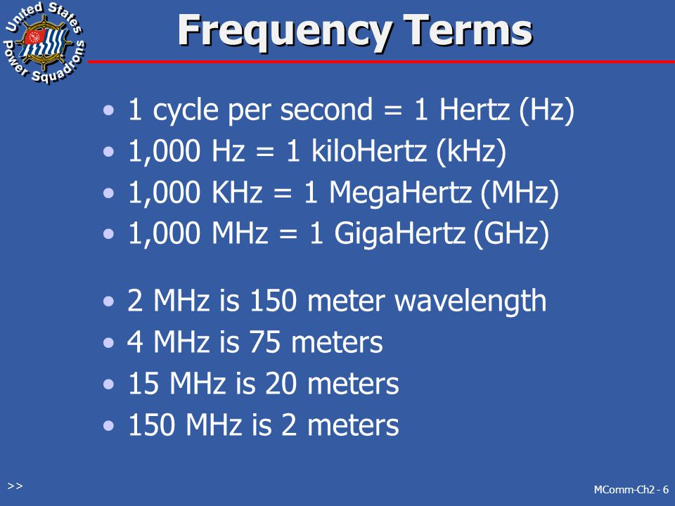 Frequency Terms 1 cycle per second = 1 Hertz (Hz) 1,000 Hz = 1 kiloHertz (kHz) 1,000 KHz = 1 MegaHertz (MHz) 1,000 MHz = 1 GigaHertz (GHz) 2 MHz is 150 meter wavelength 4 MHz is 75 meters 15 MHz is 20 meters 150 MHz is 2 meters MComm-Ch2 - 6 >>