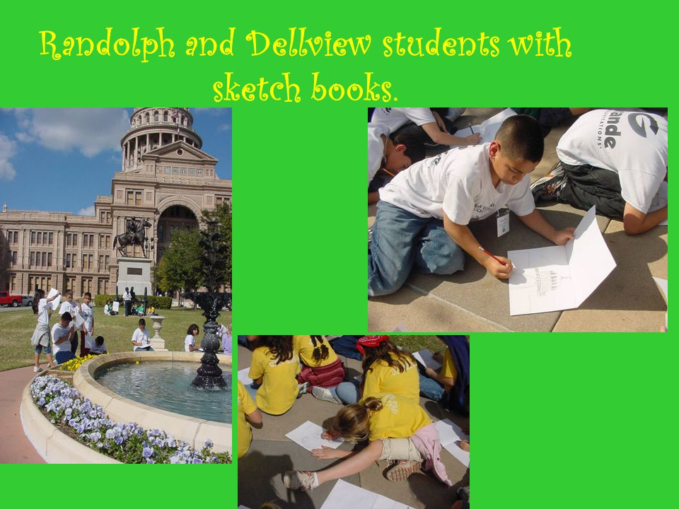 Randolph and Dellview students with sketch books.