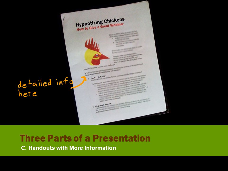 C. Handouts with More Information Three Parts of a Presentation