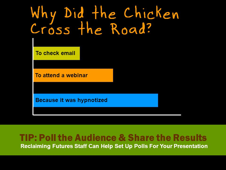 Because it was hypnotized To attend a webinar To check email TIP: Poll the Audience & Share the Results Reclaiming Futures Staff Can Help Set Up Polls For Your Presentation