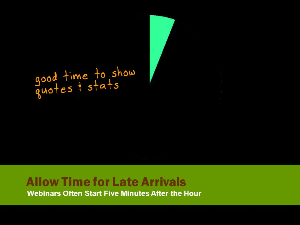 Allow Time for Late Arrivals Webinars Often Start Five Minutes After the Hour