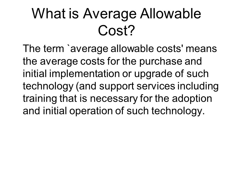 What is Average Allowable Cost.