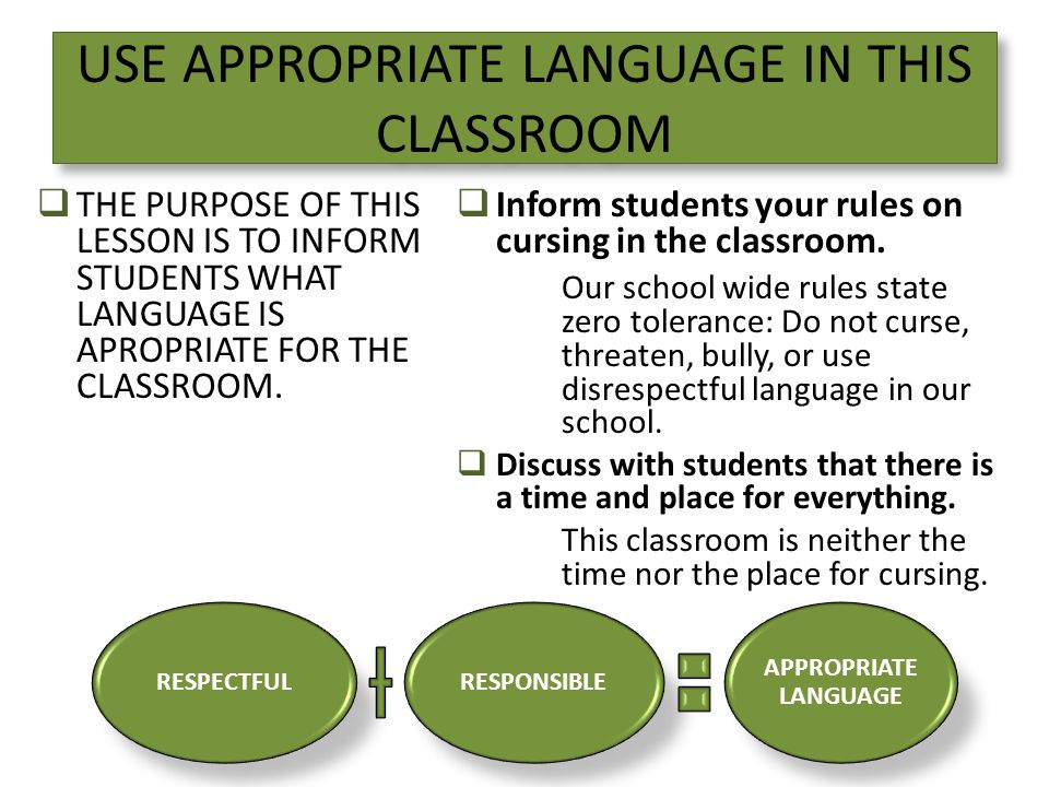 USE APPROPRIATE LANGUAGE IN THIS CLASSROOM  THE PURPOSE OF THIS LESSON IS TO INFORM STUDENTS WHAT LANGUAGE IS APROPRIATE FOR THE CLASSROOM.