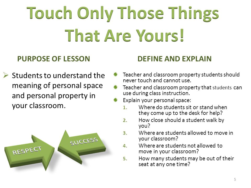  Students to understand the meaning of personal space and personal property in your classroom.