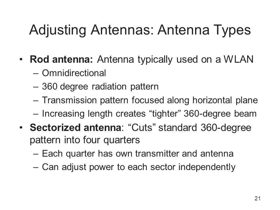 21 Adjusting Antennas: Antenna Types Rod antenna: Antenna typically used on a WLAN –Omnidirectional –360 degree radiation pattern –Transmission patter