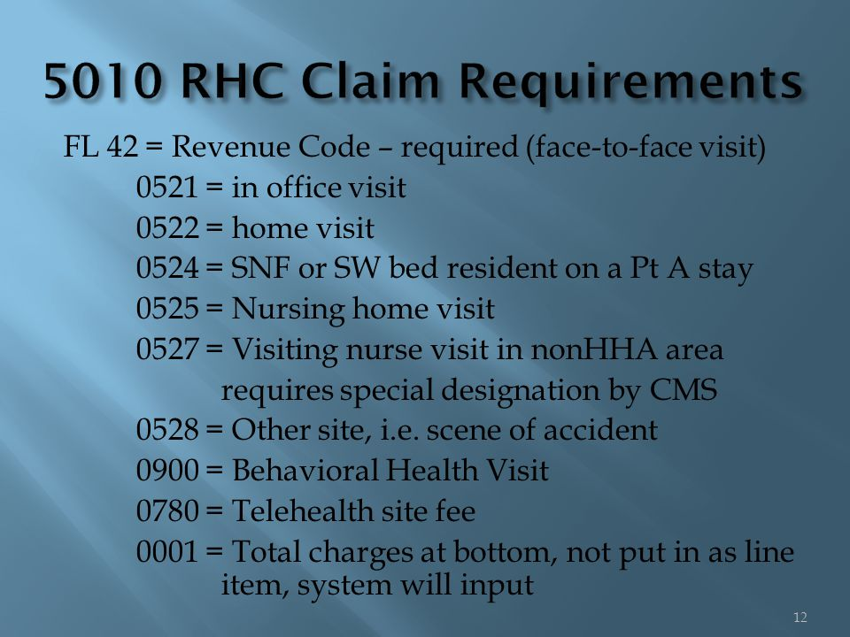 FL 42 = Revenue Code – required (face-to-face visit) 0521 = in office visit 0522 = home visit 0524 = SNF or SW bed resident on a Pt A stay 0525 = Nursing home visit 0527 = Visiting nurse visit in nonHHA area requires special designation by CMS 0528 = Other site, i.e.
