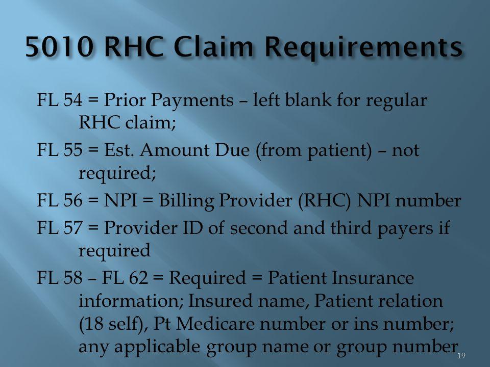 FL 54 = Prior Payments – left blank for regular RHC claim; FL 55 = Est.