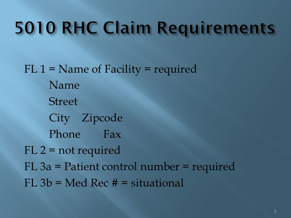 FL 1 = Name of Facility = required Name Street City Zipcode Phone Fax FL 2 = not required FL 3a = Patient control number = required FL 3b = Med Rec # = situational 5