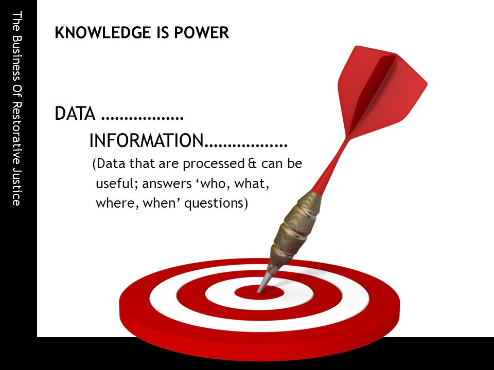 The Business Of Restorative Justice KNOWLEDGE IS POWER DATA ……………… INFORMATION……………… (Data that are processed & can be useful; answers 'who, what, where, when' questions)