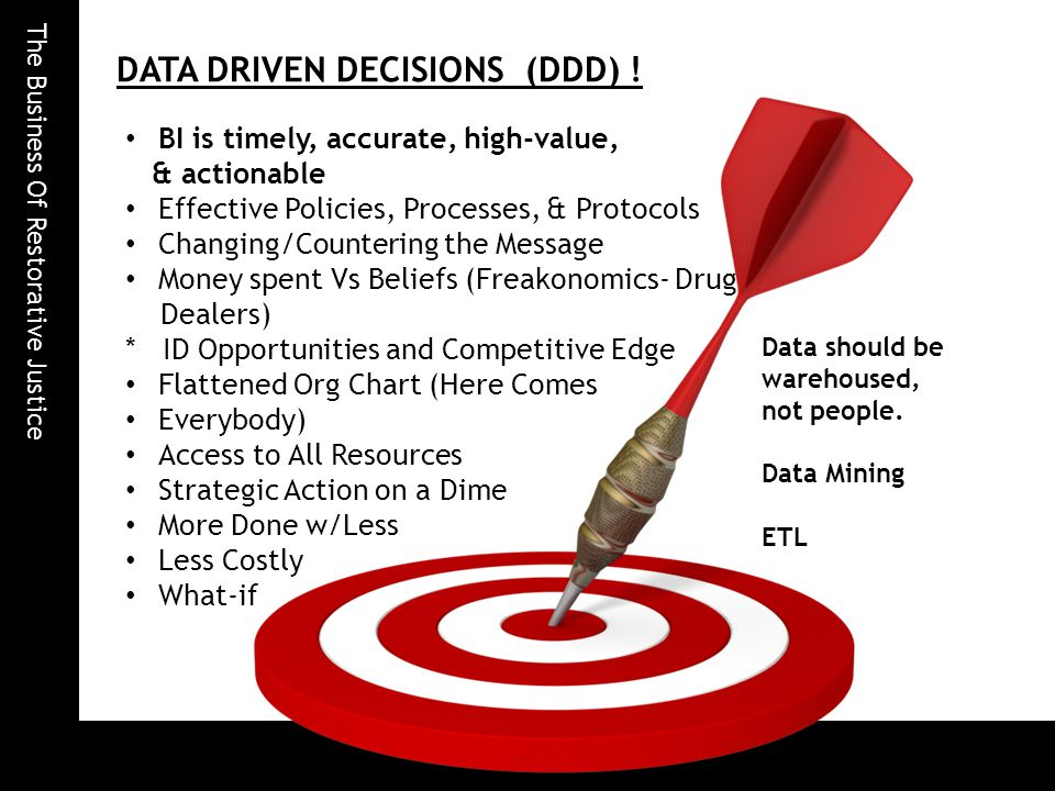 The Business Of Restorative Justice DATA DRIVEN DECISIONS (DDD) .