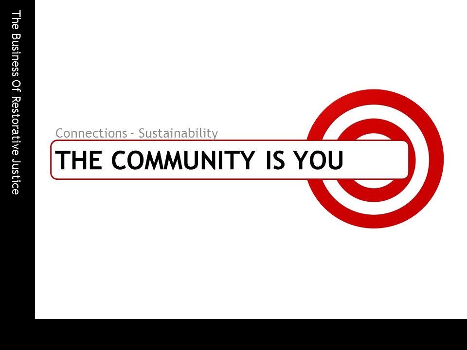 The Business Of Restorative Justice THE COMMUNITY IS YOU Connections - Sustainability