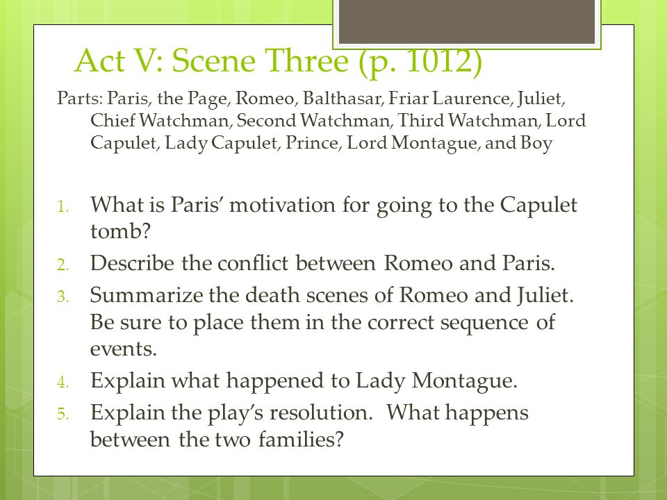 Act V: Scene Three (p. 1012) Parts: Paris, the Page, Romeo, Balthasar, Friar Laurence, Juliet, Chief Watchman, Second Watchman, Third Watchman, Lord C