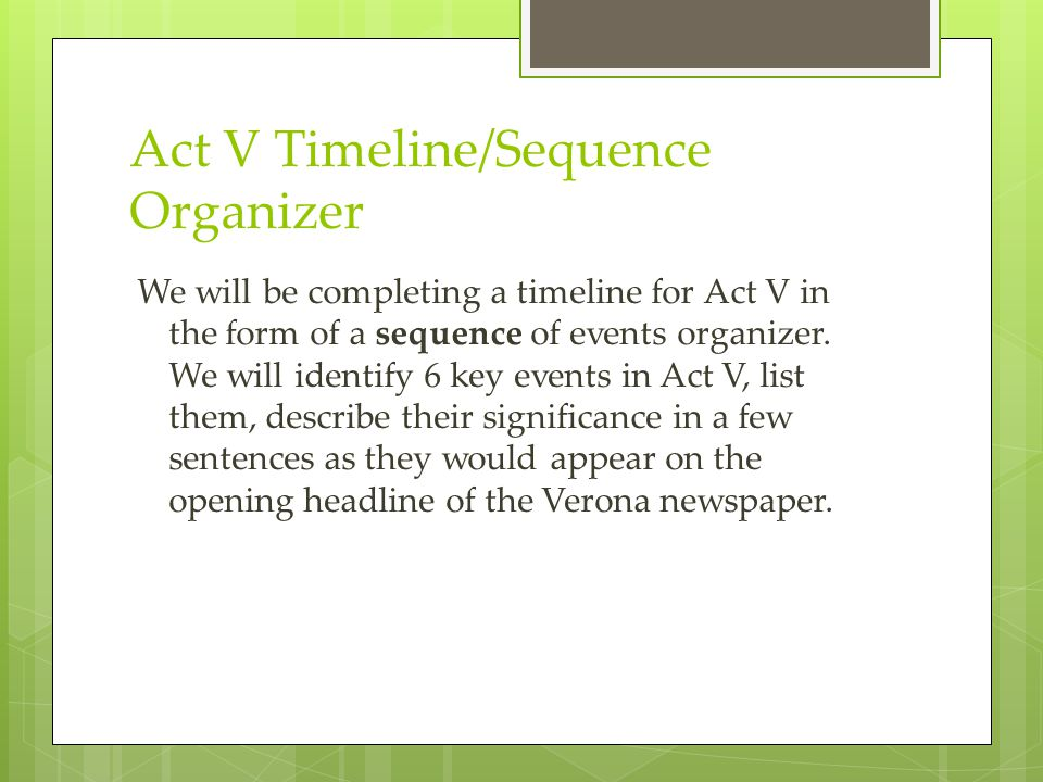 Act V Timeline/Sequence Organizer We will be completing a timeline for Act V in the form of a sequence of events organizer. We will identify 6 key eve