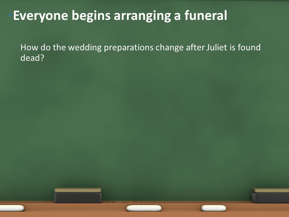 How do the wedding preparations change after Juliet is found dead.