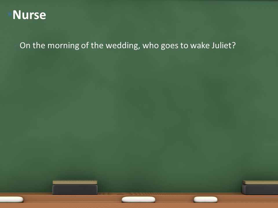 On the morning of the wedding, who goes to wake Juliet? Nurse