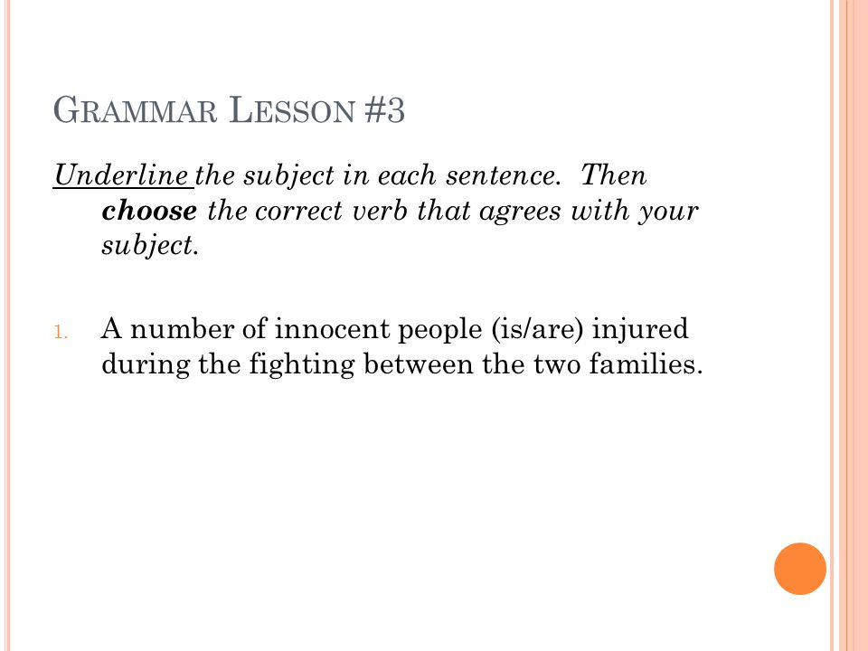 G RAMMAR L ESSON #3 Underline the subject in each sentence.