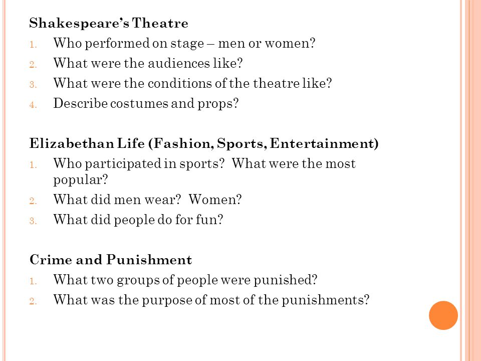 Shakespeare's Theatre 1. Who performed on stage – men or women.