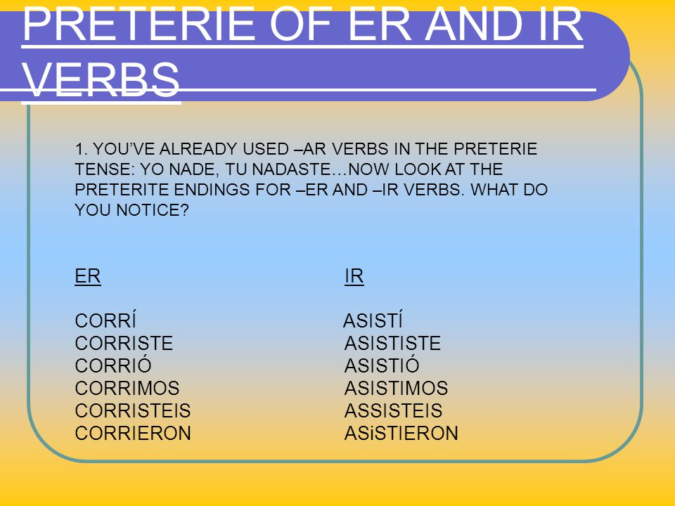 PRETERIE OF ER AND IR VERBS 1.