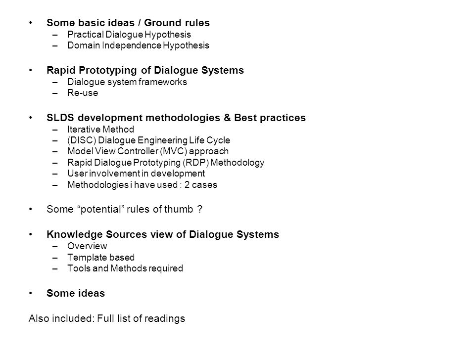 SLDS Development Methodologies (Atwell et.