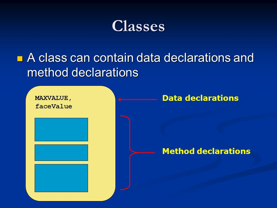 Classes A class can contain data declarations and method declarations A class can contain data declarations and method declarations MAXVALUE, faceValue Data declarations Method declarations